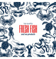 seafood products sea fishing catch fish shop vector image vector image