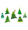 set different abstract green christmas trees with vector image