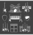 set musical instruments isolated on a black vector image