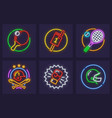 set of neon icons for sporting vector image vector image