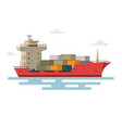 ship container in the ocean transportation vector image