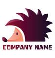 simple purple hedgehog logo design on white vector image vector image
