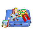 suitcase and vacation items vector image vector image