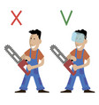 the forester holds a chainsaw vector image vector image