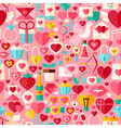 Valentine Day Flat Design Pink Seamless Pattern vector image vector image