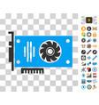 video gpu card icon with bonus vector image vector image