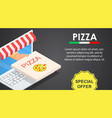 web pizza offer banner horizontal isometric style vector image