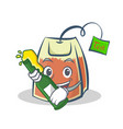 with beer tea bag character cartoon art vector image vector image