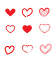 set of hearts idel for valentines day and wedding vector image