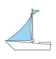 color silhouette image wooden boat with sail vector image