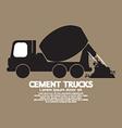 Single Black Cement Mixer Trucks vector image