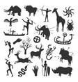 cave painting set vector image