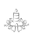 Christmas candle with bow freehand style vector image