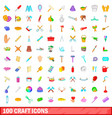 100 craft icons set cartoon style vector image vector image