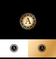 a gold letter monogram gold circle lace ornament vector image
