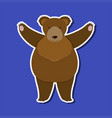 a grizzly bear character sticker template vector image vector image