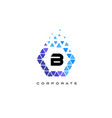 b blue hexagon letter logo with triangles vector image