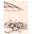 beach bar drawing drinks and sun hat on table vector image
