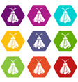 butterfly icons set 9 vector image vector image
