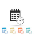 calendar and clock icon on white background vector image vector image