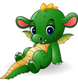 cartoon baby dragon sitting vector image