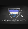 chalk drawn sketch iced blue matcha vector image