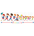 Children and the band in the parade vector image vector image