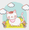 cute cat with clouds and flowers plants vector image vector image