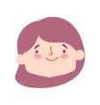 cute little girl face character cartoon isolated vector image