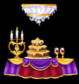festive table with with a luxurious cake glasses vector image