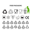 food packaging symbols set resin icons plastic vector image
