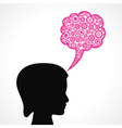 gears make a speech bubble with female face vector image vector image