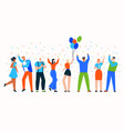 group celebrating people at holiday party scene vector image vector image