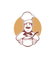 happy cartoon chef holding a soup pot vector image vector image