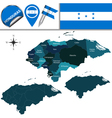 Honduras map with named divisions vector image vector image