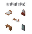 isometric furniture set of drawer bedstead table vector image