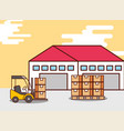 logistic warehouse cardboard boxes and forklift vector image