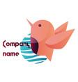 logo design a light pink bird with blank text vector image vector image