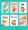 love foxes greeting cards template set vector image