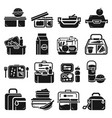 lunchbox icon set simple style vector image