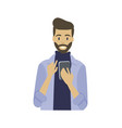 man with smartphone in hands typing message smile vector image