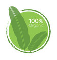 organic 100 percent natural green leaf logo vector image