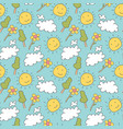 pattern seamless kids with weather doodle element vector image