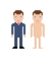 Pixel art man in blue suit and naked 8 bit retro vector image vector image