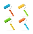 roller brushes set with colors paint vector image vector image