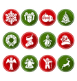Round Christmas icons set vector image