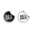 sale sticker sale up to 50 percents black and vector image vector image