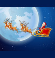 santa claus boarded a deer sled scenery moon vector image