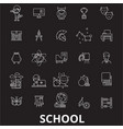 school editable line icons set on black vector image vector image