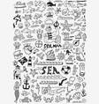sea life doodle set vector image
